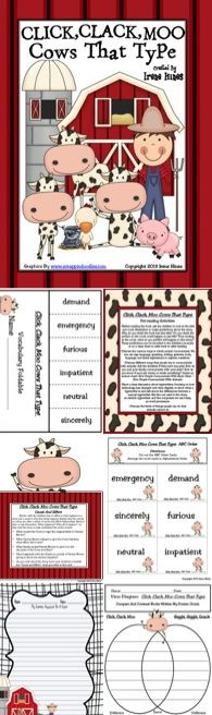 "Click, Clack, Moo Cows That Type Activity Book Unit {Based On Common Core Standards} This unit has 105 pages of ideas, discussion questions, games, activities, graphic organizers, projects and printables that correlate with the book ""Click, Clack, Moo Cows That Type"" written by Doreen Cronin. Perfect For Emergency Substitute Plans Too! ~ Reading, Writing, Math and Thematic Activities All In One Unit! $"