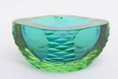 Cenedese Italian Murano Rare Sommerso Monumental Heavy Glass Bowl For Sale at 1stdibs