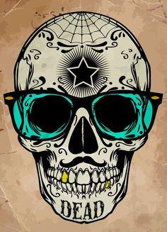 Day of the Dead Green Sunglasses Skull Calavera 3.5 inch Sticker Vinyl Decal Stickers die cut