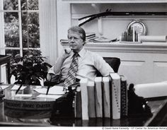 President Carter works in his private office., © David Hume Kennerly, UT Center for American History