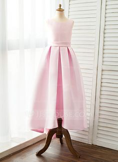 [AU$107.00] Ball Gown Sweep Train Flower Girl Dress - Satin Sleeveless Straps