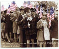 American flag holding Children