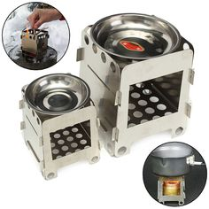 Folding Stove Stainless Steel Outdoor Lightweight Wood Stove Alcohol Stove Outdoor For Cooking Backpacking Camping