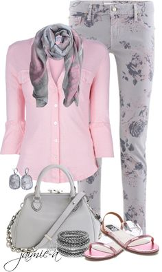 """Pink & Grey 3"" by jaimie-a on Polyvore"