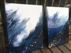 One of a kind Gorgeous epoxy resin coated abstract navy and gold acrylic watercolor canvas painting unique affordable art for your home. https://www.etsy.com/ca/listing/574292089/a-set-of-2-acrylic-navy-and-gold-leaf