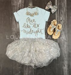 This is so my child..shes always going! Perfect Cinderella outfit lol. , I found this really awesome Etsy listing at https://www.etsy.com/listing/236791406/run-like-its-midnight-girls-silver
