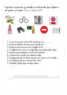 Oye las deficiones , señala y nombre pr Poster, Texts, Learning, Dyslexia, Speech Therapy, Text Types, Posters