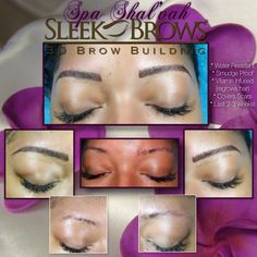 If you have sparse/thinning #Eyebrows, scars or non-existent brows due to medical conditions, then the new & innovative #SleekBrows3D is for you!  ● Now offered at #SpaShalvah in #SanDiego!  ● Last 2- 4 weeks (3 week is average)  ● Smudge Proof  ● Covers Brow Scars ● Vitamin Infused (regrows brow hair) ● Non-invasive - Brow Extensions & Sculpting gel  ● Completely customized color & shape to Client desire  ● Eyebrow/Face mapping included to ensure proper placement of brow look  ● NO MORE…