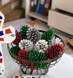 Painted Festive Pinecone Basket/Winter Table Decor/Pinecone Table Decor/Pinecone Centerpiece - Happy Christmas - Noel 2020 ideas-Happy New Year-Christmas Pine Cone Decorations, Christmas Table Decorations, Christmas Pine Cones, Christmas Ornaments, Pinecone Christmas Crafts, Christmas Trees, Primitive Christmas, Country Christmas, Christmas Christmas