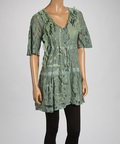 Look what I found on #zulily! Green Sheer Flowers Linen-Blend Tunic by Pretty Angel #zulilyfinds