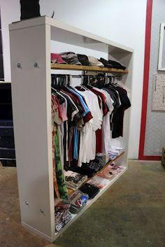 Ikea Hack- Bookcase to Stylish Hanging Rack - Kara Paslay Design Diy Fitted Wardrobes, Placard Simple, Ikea Hack Bookcase, Closet Space, Closet Wall, Master Closet, No Closet Bedroom, Bookshelf Closet, Garage Closet