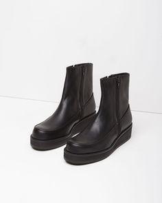 Y'S | Leather Wedge Boot | Shop at La Garçonne