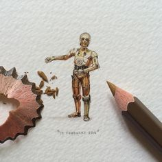 Paintings for Ants           | Day 84/100 (21/25 #freefridays) : C-3PO. 19 x 31...