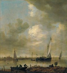 JAN VAN GOYEN - Smalschip - Jan van Goyen (Leiden 1596-1656 The Hague)  'Smalschips' on the Kil near the Oude Wachthuis with fishermen raising a net off a jetty, the Grote Kerk at Dordrecht beyond signed with monogram and dated 'VG 1649' (lower left)  oil on panel  33.5 x 43.8 cm.