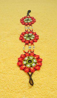 Huichol Beaded Flower Bracelet / Huichol Jewelry Flower Bracelet, Beaded Flowers, Crochet Earrings, Stitch, Beads, Trending Outfits, Unique Jewelry, Bracelets, Handmade Gifts