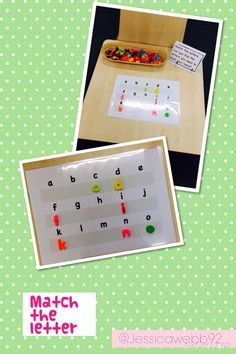 Matching letters on the phonics table.