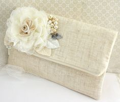 Bridal Clutch Shabby Chic Rustic Wedding in Ivory with Linen, Lace and Pearls- Vintage Inspired on Etsy, $80.00