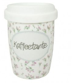 Coffee to Go Becher klein KAFFEETANTE von Mea-Living Reisebecher Porzellanbecher CTK-017  - 2-flowerpower