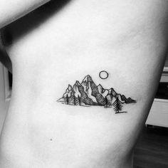 Brilliant Under Boob Mountain Tattoo Designs