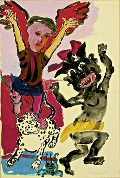 dionyssos: Paula Rego B 1935 Year 1986 Art And Illustration, Character Illustration, Mario Cesariny, Painting Inspiration, Art Inspo, Nadir Afonso, Arte Peculiar, Female Painters, Dance Paintings