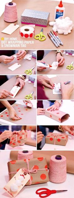 DIY Gift Wrapping Ideas - How To Wrap A Present - Tutorials, Cool Ideas and Instructions | Cute Gift Wrap Ideas for Christmas, Birthdays and Holidays | Tips for Bows and Creative Wrapping Papers |  DIY Home Dot Wrapping Paper and Snowman Tag |  http://diyjoy.com/how-to-wrap-a-gift-wrapping-ideas
