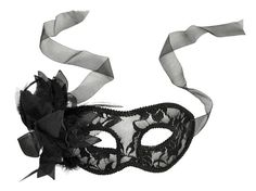 Simplicity Costume Party Sheer Lace Mask w/ Flower Masquerades Eye Mask, Black