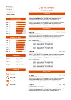 WellOrganized TableFormatted And Fully Editable Free Resume