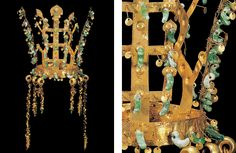 Crowns like this were cut from a thin sheet of gold and were so delicate, some speculate they were worn only for ceremonial occasions or made as a burial ornament. In nomadic fashion, here is how the crown pendants were detached from the band. I also see a Scytho-Siberian nomadic influence in the tiny mirrored gold pendants. What a startling impression that must have made when those pendants reflected sunlight, linking the king with the sun on Earth.
