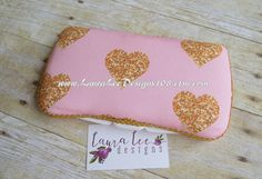 Faux Glitter Gold Hearts on Light Pink with by LauraLeeDesigns108