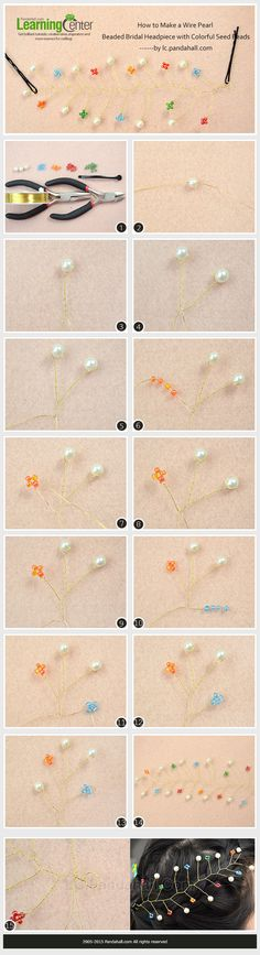 How to Make a Wire Pearl Beaded Bridal Headpiece with Colorful Seed Beads