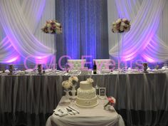 Angus Glen Golf Course recent Wedding Design, Grand Cris Cross Backdrop, Hand pleated tulle Head Table Design