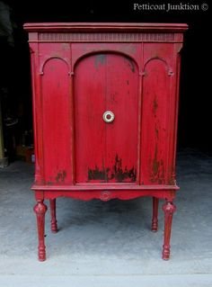 DIY:: GORGEOUS !! Red Painted cabinet makeover using Miss Mustard Seed's Milk Paint in Tricycle, Petticoat Junktion