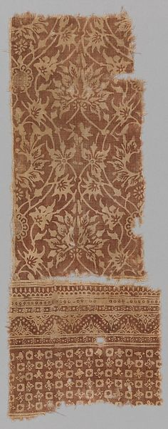 Date:     15th century  Geography:     Attributed to India  Culture:     Islamic  Medium:     Cotton; block-printed and resist-dyed  Dimensions:     18.13 in. high 8.38 in. wide (46.1 cm high 21.3 cm wide)  Classification:     Textiles-Painted and/or Printed  Credit Line:     Purchase, V. Everit Macy Gift, 1930  Accession Number:     30.112.34