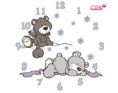 Wandtattoo-Uhr Winter Bears Uhr
