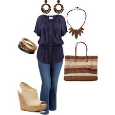 plus size outfit by penny-martin on Polyvore I like the color palette and everything but the shirt and purse.