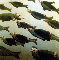 Michael Sowa - School of Fish Michael Sowa (born 1945) is a German artist known mainly for his paintings, which are variously whimsical, surreal, or stunning. His paintings often feature animals and are titled in English and German. Sowa studied at the Berlin State School of Fine Arts for seven years and worked briefly as an art teacher before focusing entirely on his career as a painter and illustrator.