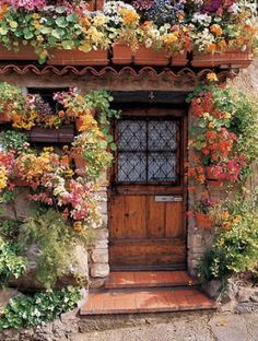 Flowers framing the entrance - great idea