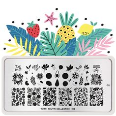 Tutti Frutti 02 | MoYou London Stamping Nail Polish, Nail Stamping Plates, Funky Fruit, Cherry On The Cake, Fruits Images, Stainless Steel Nails, Image Plate, Marca Personal, Tutti Frutti