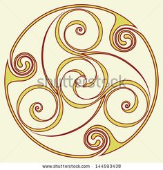 Celtic disk ornament - inspirited by bronze disc from the before Christian era - the triple spiral symbol is often associated with Gaelic pagan holy sites by Marek Hlavac, via Shutterstock