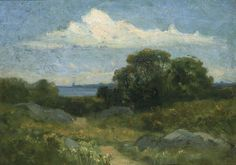 Landscape (trees and rocks by lake) by Edward Mitchell Bannister