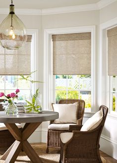 Idea for bay window treatment - molding. Love the pendant light as well
