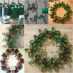 """diycomfyhome: """" DIY Paper Roll Wreath Christmas is slowly approaching so we decided to start featuring some really cool Christmas DIY ideas. First off we would like to start off with this DIY Paper Roll Wreath that will exceed your expectations in. Christmas Wreaths To Make, Christmas Paper, Christmas Projects, Christmas Decorations, Christmas Ornaments, Fence Decorations, Christmas Ribbon, Christmas Ideas, Toilet Paper Roll Crafts"""