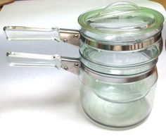 Fabulous Vintage 1950s Pyrex Clear Glass Double Boiler two pots with lid by retrowarehouse on Etsy