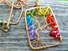 Rainbow/Chakra Crystal Brass Tree of Life Pendant/Necklace Gift Boxed by BeadingonaBudget on Etsy