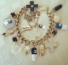 Chanel Pill Charm bracelet and necklace Chanel Bracelet, Chanel Jewelry, Bracelet Watch, Jewelry Box, Gold Jewelry, Hippie Style, Jewelry Accessories, Fashion Accessories, Nursing