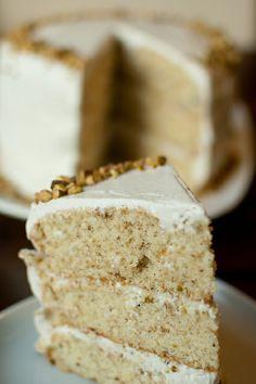 Pistachio Cake with Honey Vanilla Buttercream Frosting