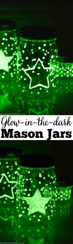 Glow-in-the-dark Mason Jars - how to make customized glow in the dark mason jars.