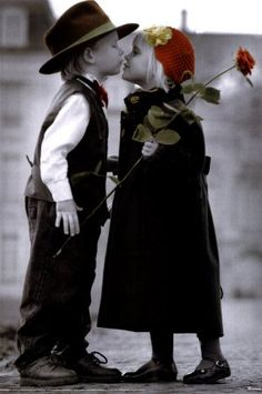 First Kiss and a Red Rose Baby Kind, Baby Love, Cute Kids, Cute Babies, Color Splash, Color Pop, Kids Kiss, Splash Photography, Retro Photography