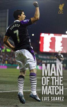 Luis Suarez... #LFC Man of the Match against Stoke City.