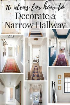 Narrow hallway decorating ideas! This post rounds up 10 gorgeous hallways with great ideas for the lighting, flooring, and walls in your boring hall.